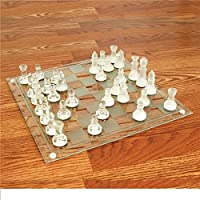 14 Inch Heavy Glass Chess Set
