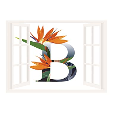 SCOCICI Wall Sticker,Window Looking Out Into/Letter B,Letter B with Bird of Paradise Flower Alphabet Character Font Design Print Decorative,Orange Green Grey/Wall Sticker Mural