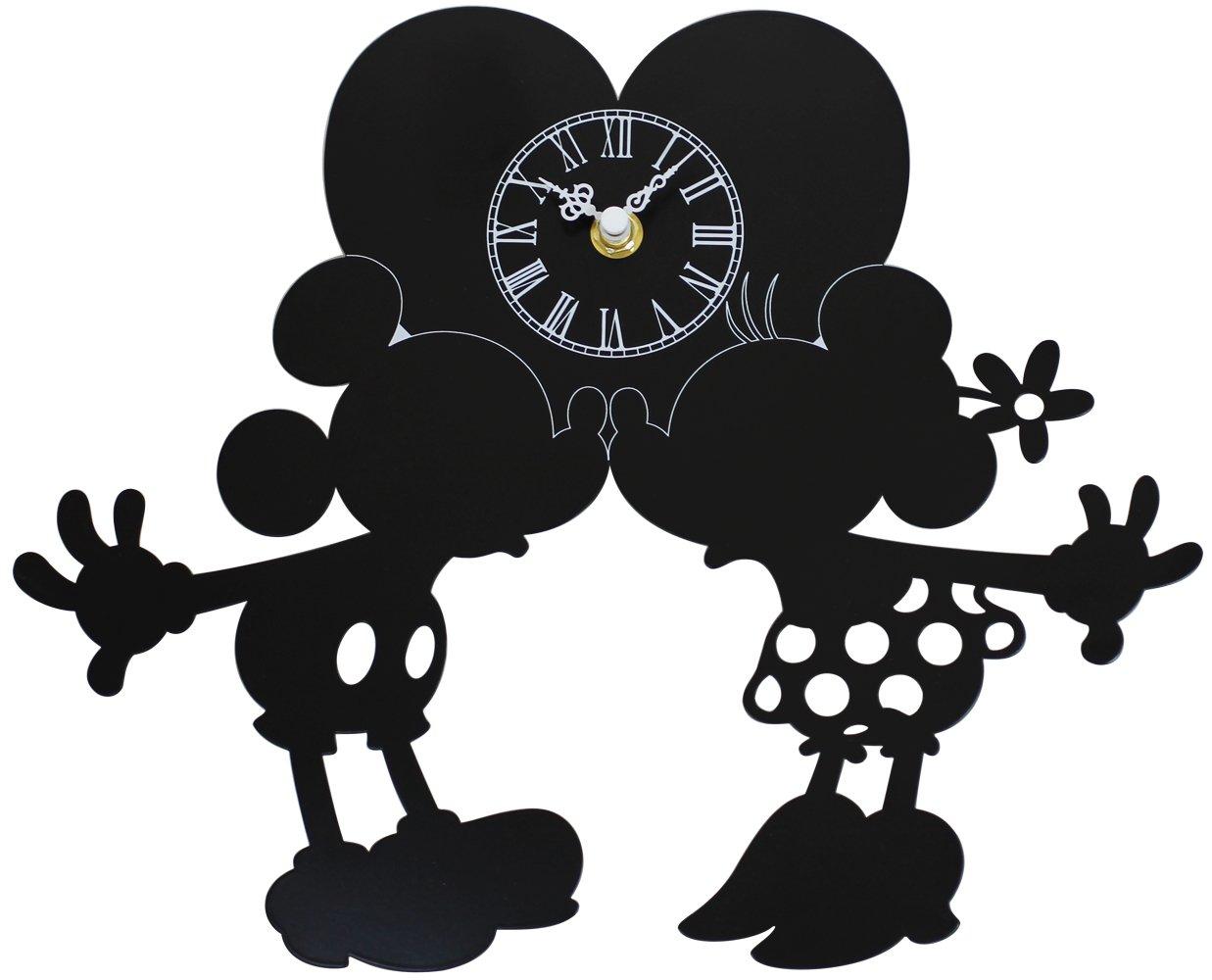 ディズニー 掛け時計 ミッキーマウス & ミニーマウス メタルフレーム ブラック DIC-019-DL-MM1 B01CU090TY