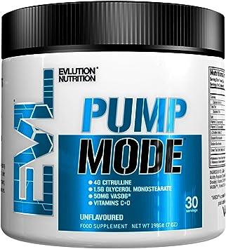 Evlution Nutrition PUMP MODE, Suplemento En Polvo De Oxido Nitrico Booster Vascular Para Un Bombeo Intenso Y Extra Rendimiento, Contiene 30 ...