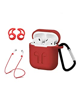 AC Parts Protective Silicone Accessories Kits Cover and Skin 2 Ear Hook Grips, 2 Anti-Loss Staps, 1 Earphone Bag Compatible with Apple Airpods 1 & 2 Charging Case [Front LED Not Visible](Red