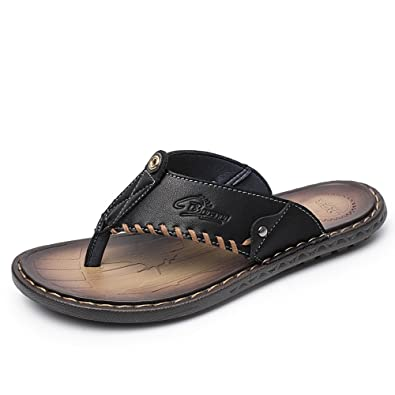 af10e94a27c Anokar Mens Slippers Summer Leather Flip Flops Flat Casual Beach Pool Sandals  Outdoor Shoes Walking Thongs