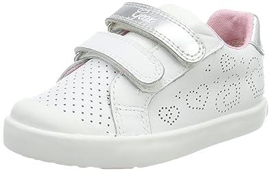 Geox B Kilwi A, Sneakers Basses Bébé Fille, Blanc (White/Silver), 24 EU