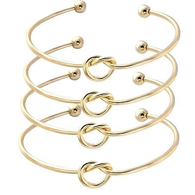 5dfdf184d3f SENFAI Love Knot Bangle Bracelet Simple Knot Bangle Cuffs Women Stretch  Bracelet Gold Silver Knot Bangles