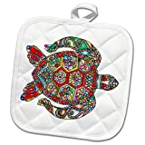 3dRose All Things Mexican - Image of Vividly Colored Sea Turtle - 8x8 Potholder (phl_279966_1)
