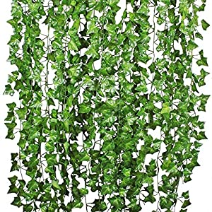 MARJON Flowers12 Pack Artificial Greenery Fake Ivy Leaves Vine Hanging Wedding Vine Plant Garland for Home Kitchen Garden Wedding Party Home Wall Decoration 62