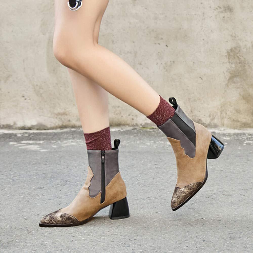 ZHRUI Stiefel Damen Schuhe Damenstiefel Stiefeletten Block Heel Pull Stretchy Pull Heel on Schuhe Solid Martin Stiefel Klassische Stiefel Wildlederstiefel (Farbe   grau , Größe   40 EU) 467037