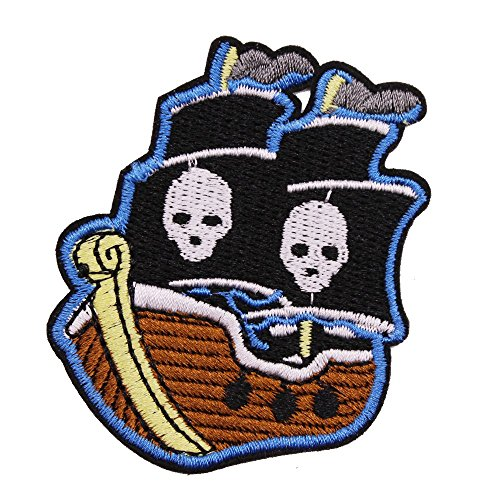 Pirate Ship Patch for Kids Clothing, U-Sky Iron on Patches Sew on Appliques for Jeans Jackets Vest Backpacks, Pack of (Pirate Iron On Patch)