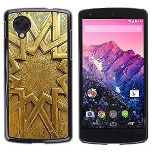 Cubierta de la caja de protección la piel dura para el LG GOOGLE NEXUS 5 - gold sun pattern ancient metal door