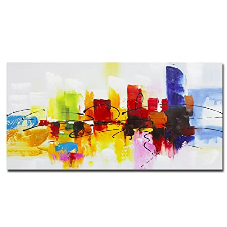 fokenzary hand painted colorful abstract painting on canvas bright