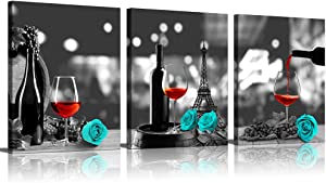 Kitchen Wall Decor Canvas Wall Art Red Wine Teal Rose Artwork for Home Walls Black and White Painting Giclee Printed Dining Room Decor Turquoise Pine Kitchen Pictures Wall Decor Theme Sets