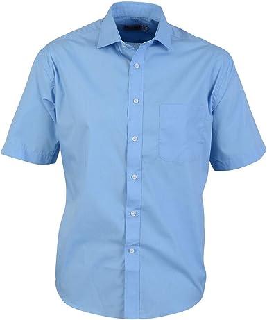 Absolute Apparel - Camisa de popelín clásica de Manga Corta para Hombre: Amazon.es: Ropa y accesorios