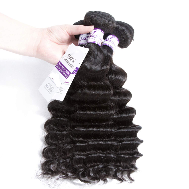 ブラジルルースディープウェーブ3バンドルお得な非Remy人間の髪織りエクステンションナチュラルブラックヘアエクステンション3ピース かつら (Length : 16 18 18) B07THYC7NV  16 18 18