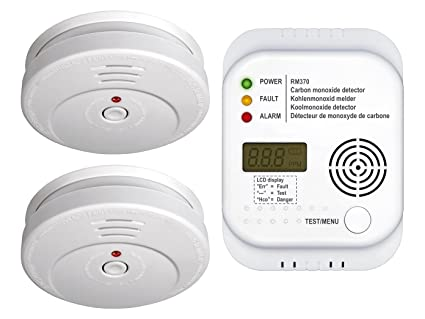 Protección contra incendios de set7 (2 x Detector de humo, – Detector de monóxido