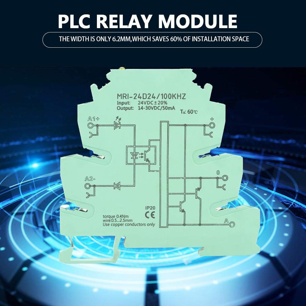 PLC Relay Module Durable MRI-24D24 High Frequency 100KHZ Photoelectrical Coupler IsolationOptocoupler Protection Relay with Yellow LED Indication
