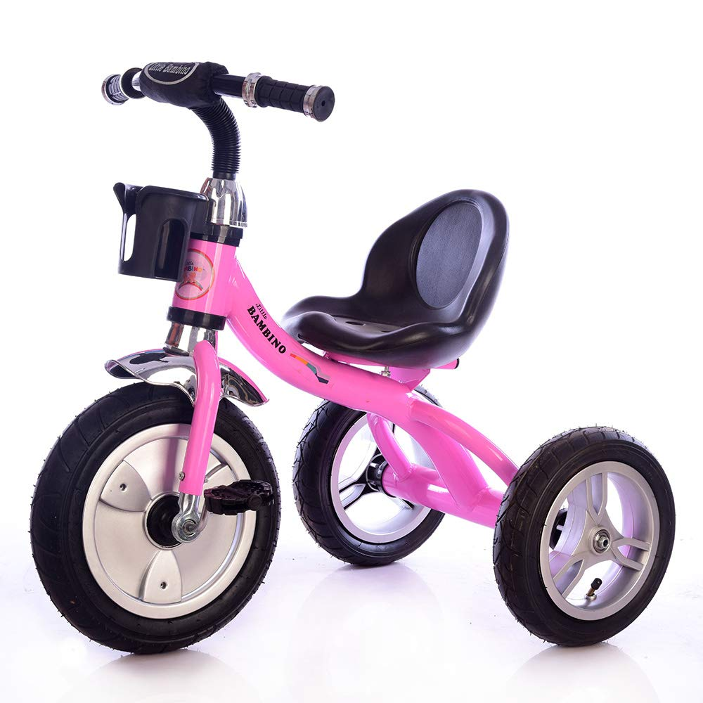 Bottleholder blue Rubber Air Filled Wheels  Steel Frame Little Bambino Trike Kids Tricycle Adjustable Chair 10 Minute Assembly Trike Tricycle Toddler Bike