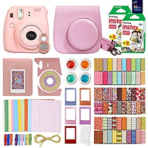 FujiFilm Instax Mini 8 Camera + 40 Instax Film + MiniMate Accessory Bundle. Kit includes: Case, Frames, 64 page Photo Album, Selfie Lens, Colored Filters and more