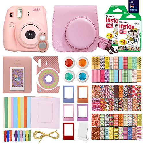 MiniMate Instax Mini 8 Camera with 40 Instax Film and Accessory Bundle, Pink
