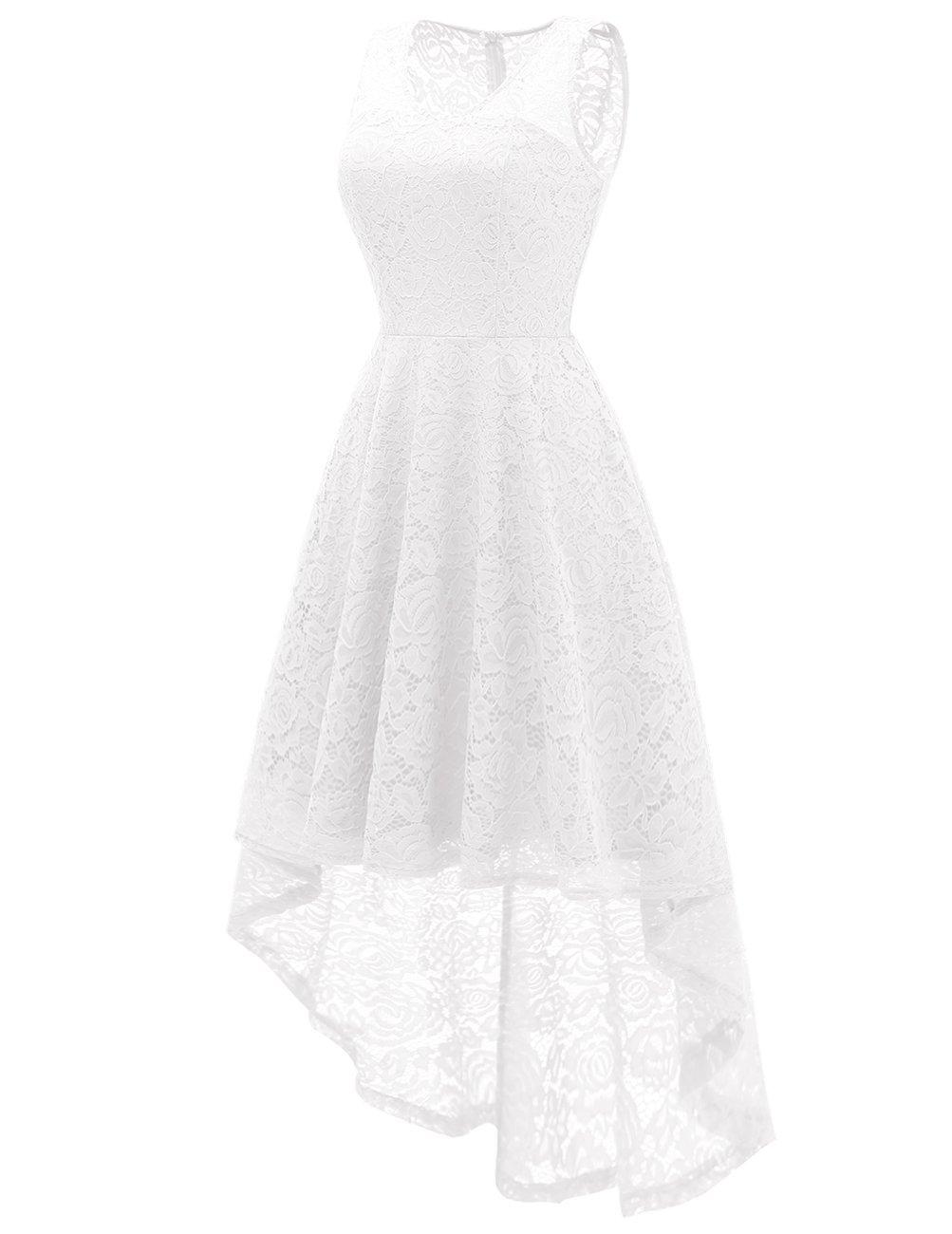 DRESSTELLS Women's Cocktail V-Neck Dress Floral Lace Hi-Lo Formal Swing Party Dress White XL by DRESSTELLS (Image #2)