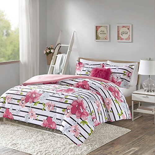 (Comfort Spaces Zoe 4 Piece Comforter Set Printed Striped Floral Design with Faux Long Fur Decorative Pillow Bedding, Full/Queen, Pink)