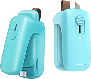 Smart Mini Potable Bag Heat Sealer,2 in 1 Hand-held Bag Resealer and Cutter, Quick and Powerful Seal for Plastic Food Snack Storage Fresh Pouch Sealer with Magnet and Lanyard,No Battery(Mint Green)