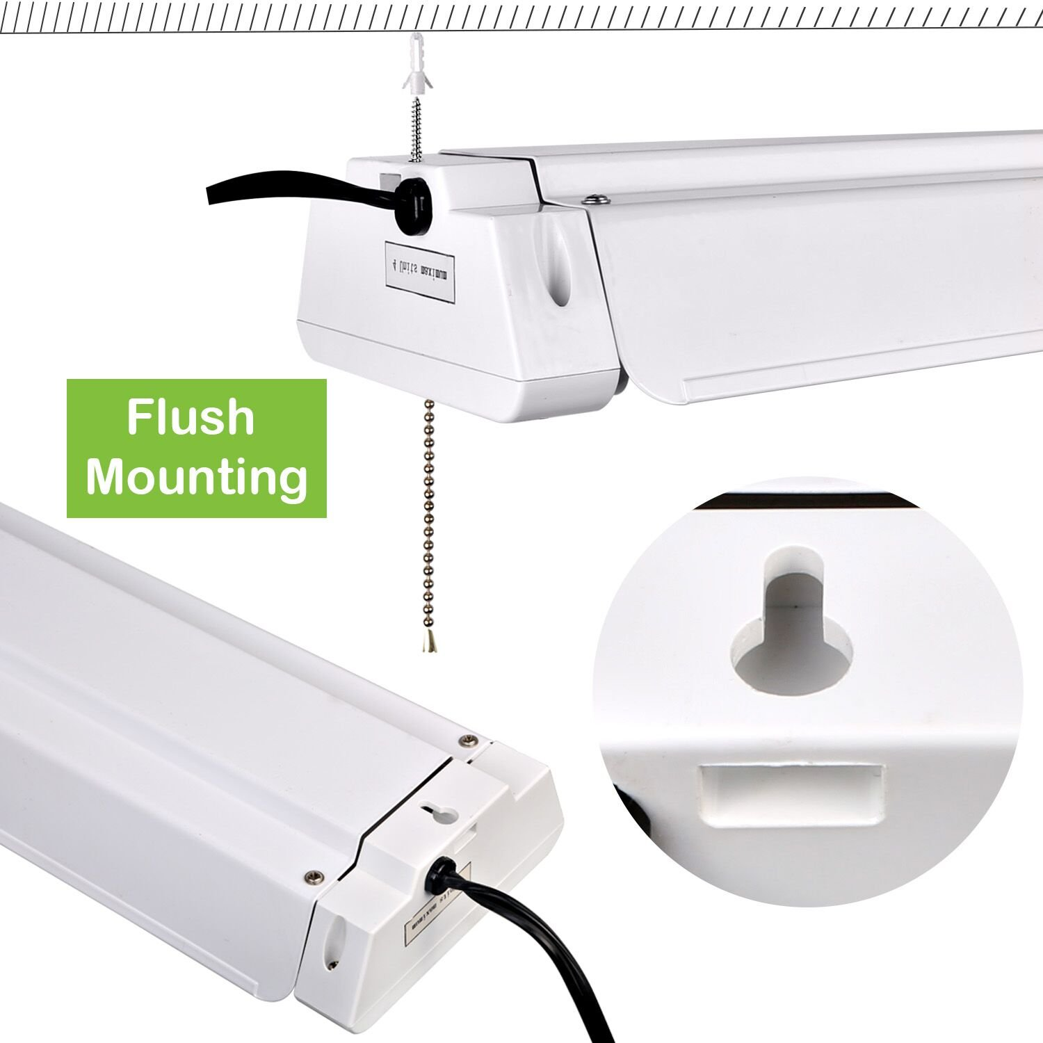 Hykolity 4ft 42w Linkable Led Shop Light With Pull Chain Hanging Or Bathroom Cord Switch Wiring Diagram Flushmount Garage Utility 5000k Workbench