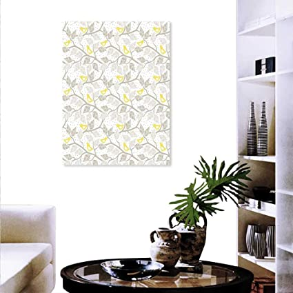 Amazon Com Anyangeight Grey Yellow Wall Paintings Abstract Tree