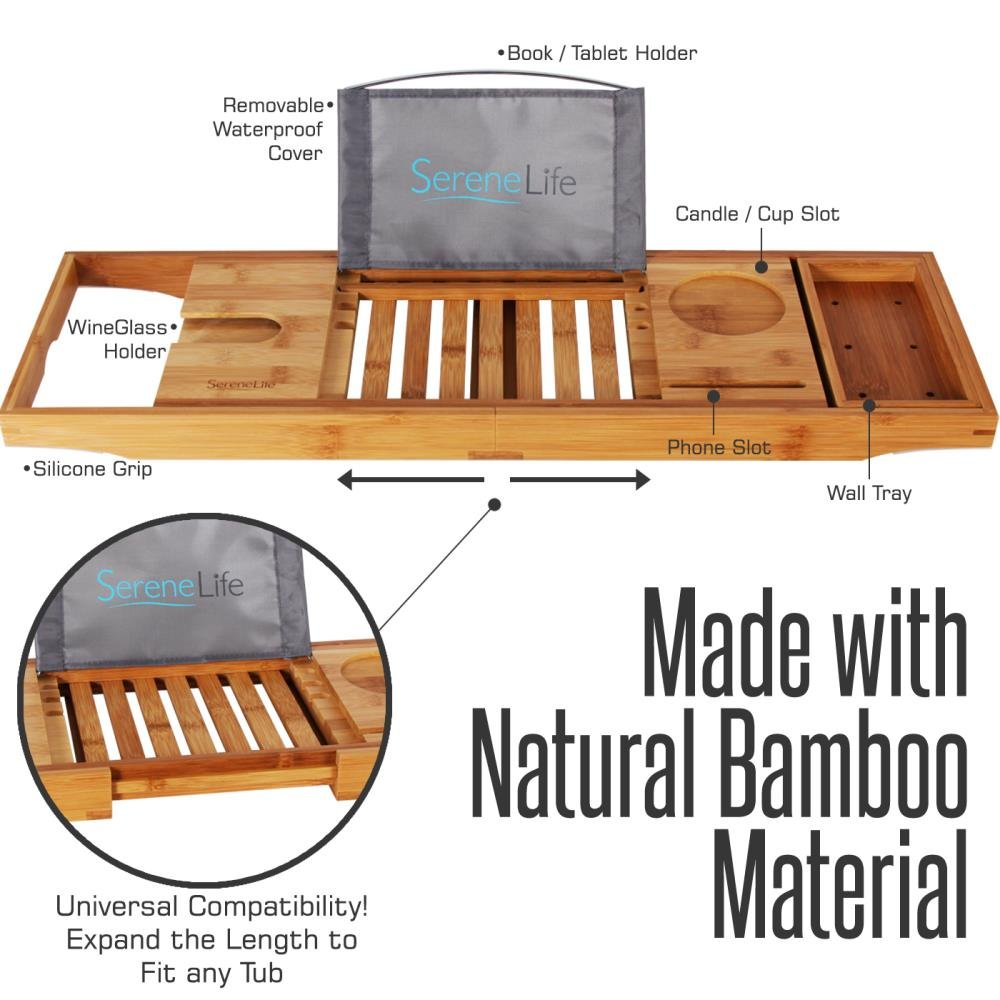 SereneLife Luxury Bamboo Bathtub Caddy Tray - Adjustable Natural Wood Bath Tub Organizer with Wine Holder, Cup Placement, Soap Dish, Book Space & Phone Slot for Spa, Bathroom & Shower SLBCAD20 by SereneLife (Image #4)
