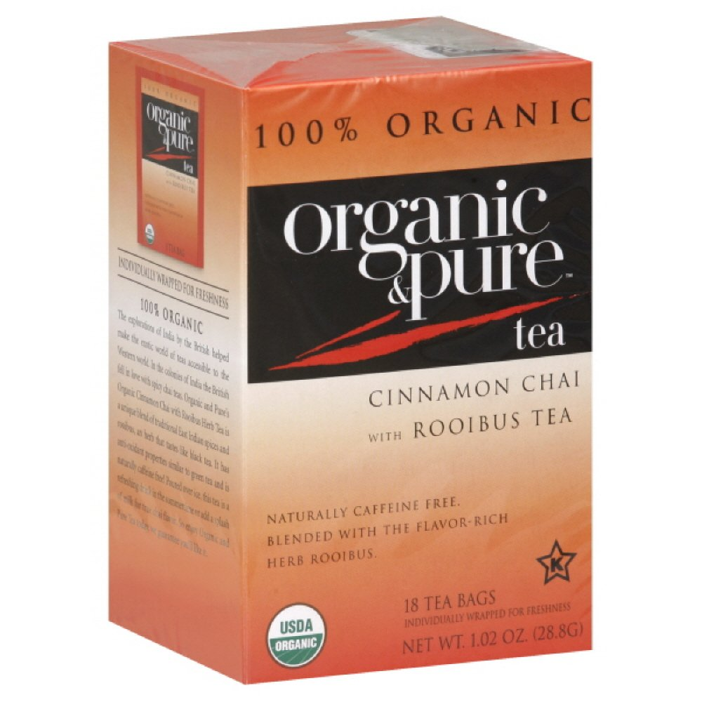 Organic and Pure Cinnamon Chai Rooibos Herb Tea, 18-count (Pack of 6) by Pure Organic