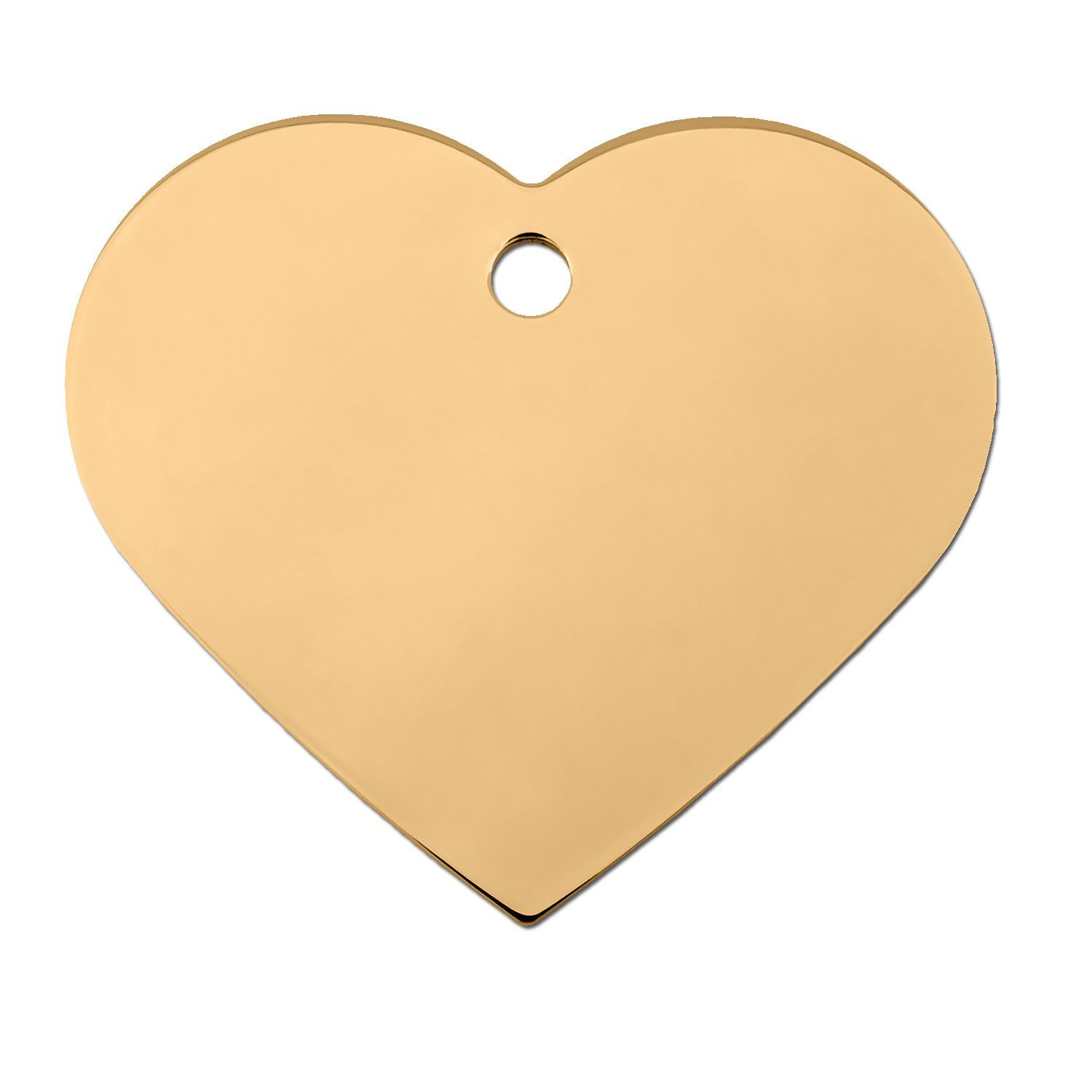 Quick-Tag Large Gold Heart Personalized Engraved Pet ID Tag