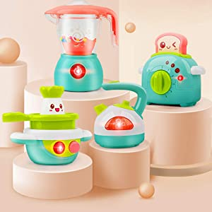 Gizmovine Kitchen Set for Girls Toys Mini Kids Play Kitchen Set, 4PCs Play Kitchen Accessories, Pretend Play Kitchen Musical Toy for Girl Gifts Cooking Set Kids Kitchen Play Set for 2,3,4 Year Old