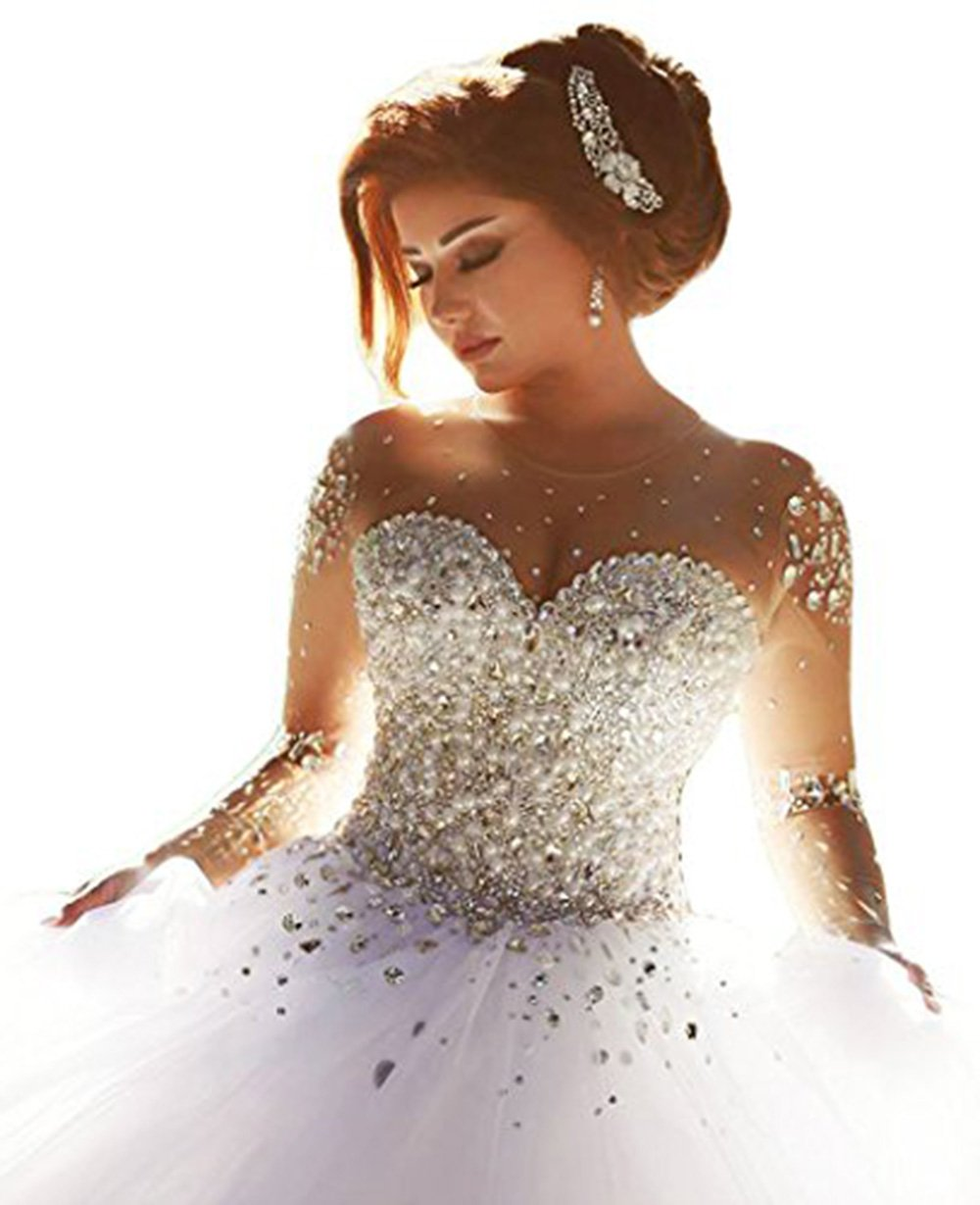 ScelleBridal Gorgeous 2016 Pearls Beading Long Sleeves Ball Wedding Dresses For Bride White 20W