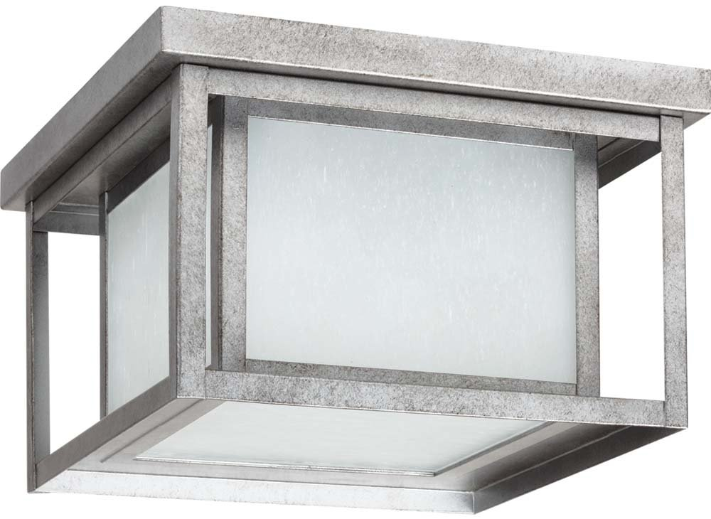 Sea Gull 79039-57 Hunnington Outdoor Ceiling Flush Mount, 2-Light 150 Total Watts, Weathered Pewter by Sea Gull Lighting