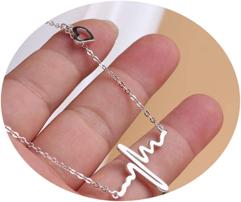 Epinki Chapado en Oro Bohemia Collar Electrocardiograma Cadena Clavícula Collar para Mujer y Chicas