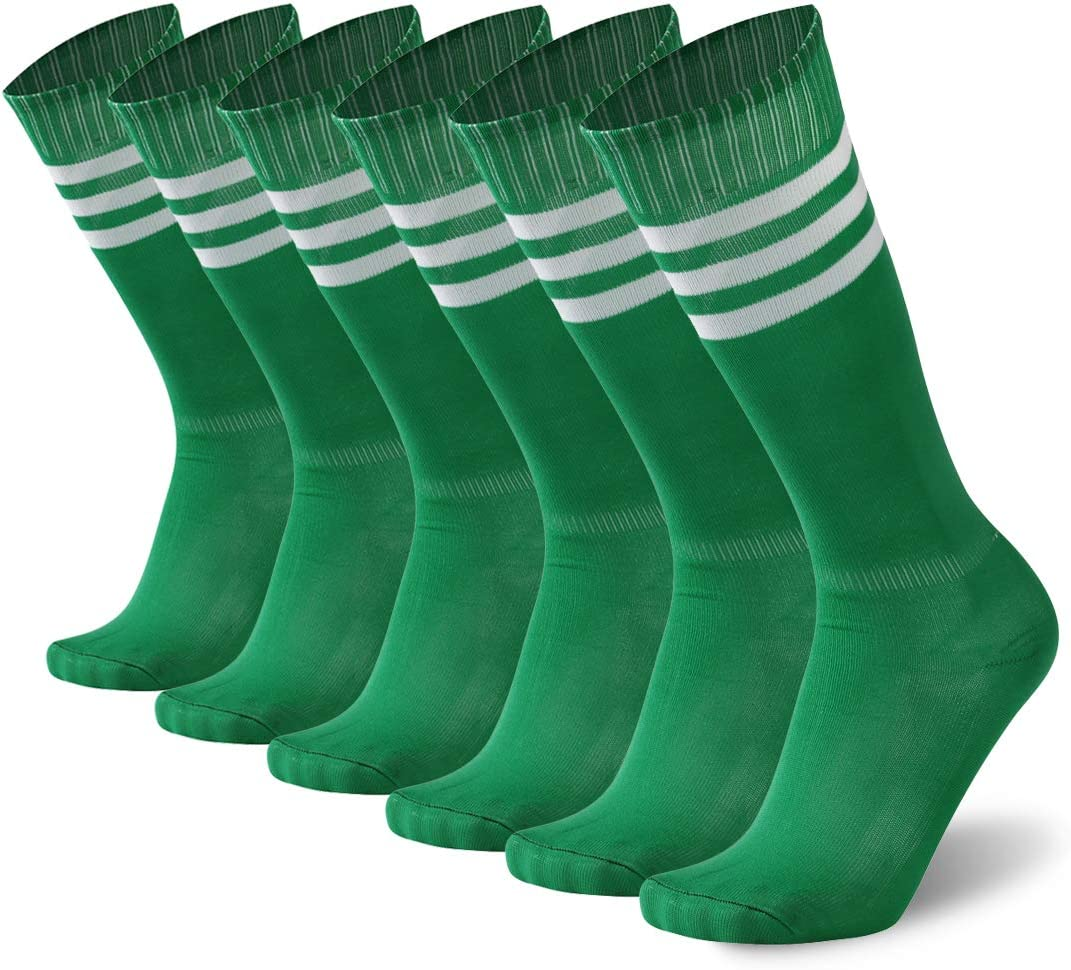 getsporユニセックスFootball Socks Knee HighアスレチックサッカーチューブSock 2 / 4 / 6 / 12ペア 6 Pairs 緑 With 白い Stripes