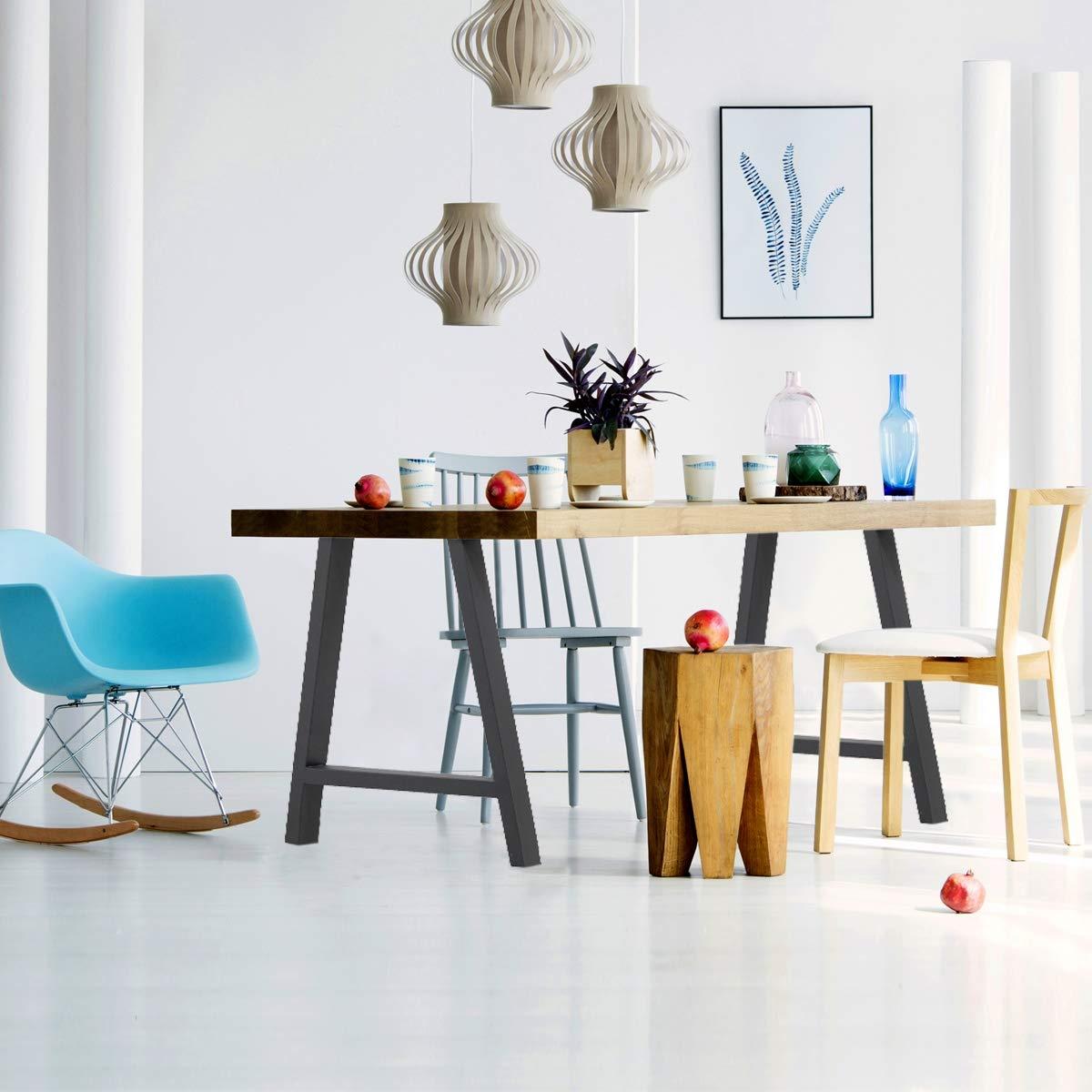 ECD Germany 2x Patas de mesa gris hecho de acero juego de patas de mesa pies de mesa 60 x 72 cm dise/ño industrial