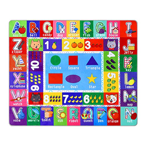 Partykindom Kids Play Rug Mat Playmat with Non-Slip Design Playtime Collection ABC, Numbers,Shapesand Animals Educational Area Rug for Children Kids Bedroom Playroom(53.5 x 43.5 inch)