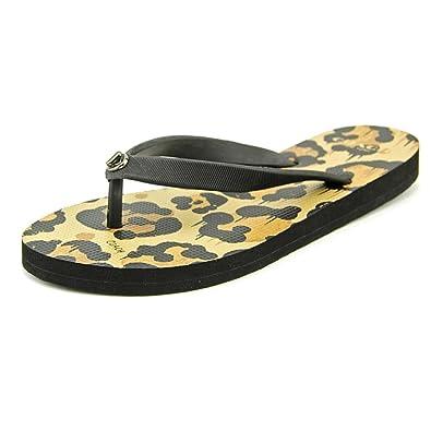 Coach Alyssa Rubber Wild Beast Women US 6 Black Flip Flop Sandal