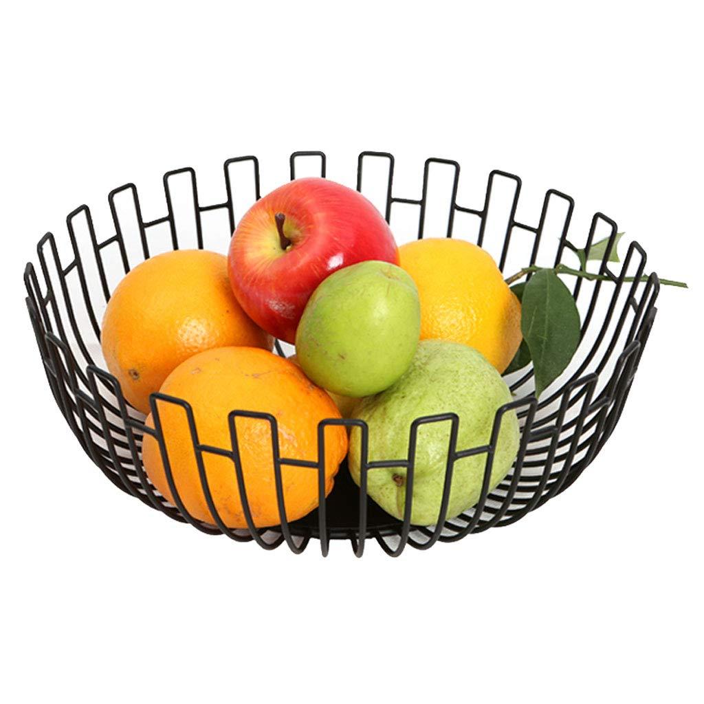 クリエイティブメタル中空フルーツトレイフルーツバスケットプレートフルーツ皿フルーツラックキッチンリビングルームの装飾 (色 : 黒)  黒 B07NPVV837