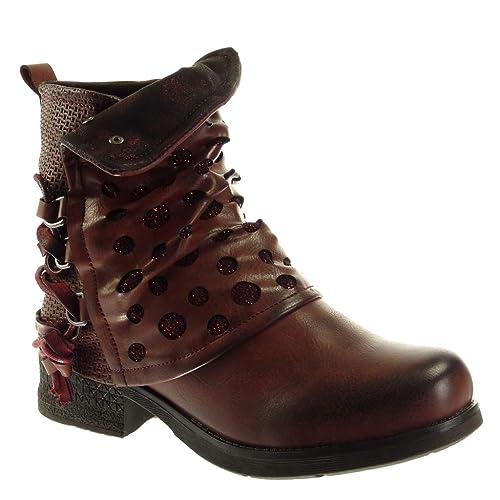 Angkorly Damen Schuhe Stiefeletten Biker Reitstiefel Kavalier Classic Geflochten String Tanga Nieten besetzt Blockabsatz high Heel