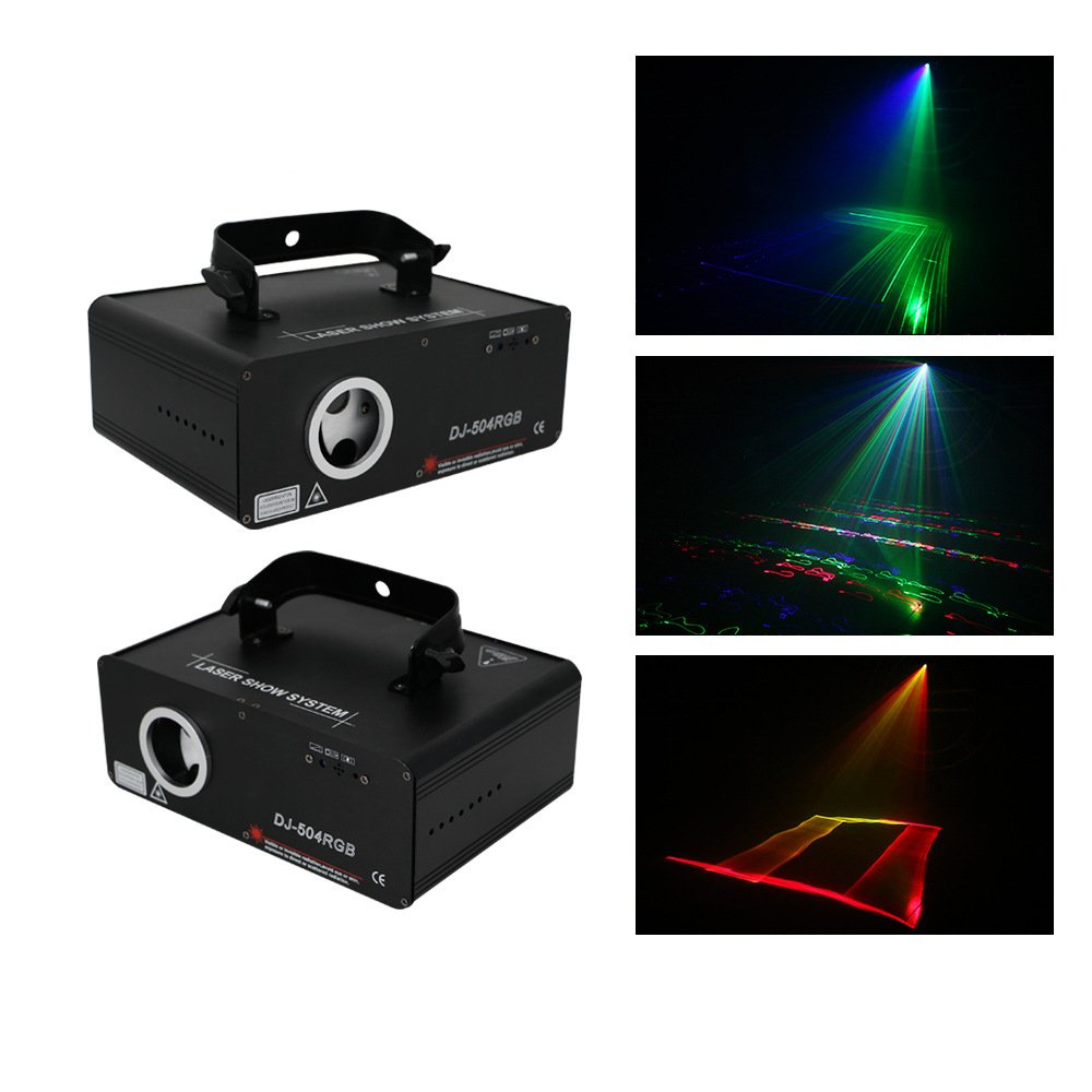 Sumger 5-IN-1 RGB Animaion LED Laser Projector Light 100 Patterns DMX Stage Lighting with Sound Activated for Wedding, Disco, Dance halls, Bars, KTV, Family Party by Sumger