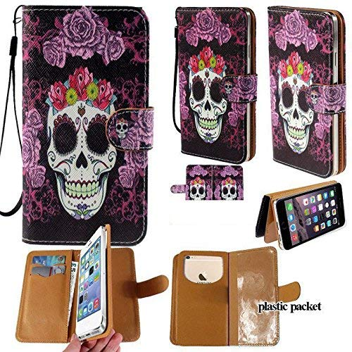 Universal PU Leather Strap Case/Purse/Clutch Fits Apple Samsung LG etc. Purple Flower Skull Head -Medium. Magic Sticker Attaches Phone to Wallet. Strong Adhesive/Easy Remove. Fits Models Below: ()