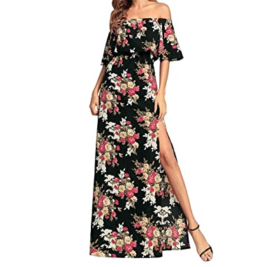 d33b652751b YUBUKE Summer Floral Print Maxi Dress Women Up Long Flowy Bohemian Beach  Party Dresses(Black