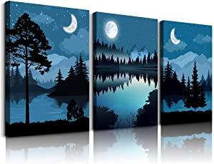 Canvas Wall Art for Living room bathroom Wall Decor for bedroom kitchen artwork Canvas Prints Blue abstract geometric landscape painting 3 Piece Modern framed office Home decorations family picture