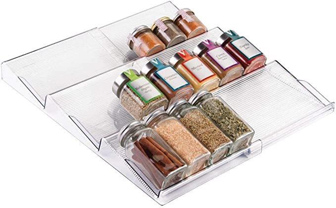 Amazon.com: mDesign Adjustable, Expandable Plastic Spice Rack, Drawer Organizer for Kitchen Cabinet Drawers - 3 Slanted Tiers for Garlic, Salt, Pepper Spice Jars, Seasonings, Vitamins, Supplements - Clear: Kitchen & Dining