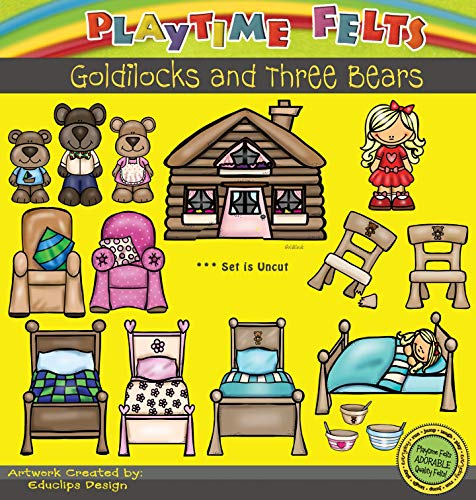 Rhymes Time Circle (Playtime Felts Goldilocks and Three Bears Felt Figures for Felt Playboards 16 Piece Set)
