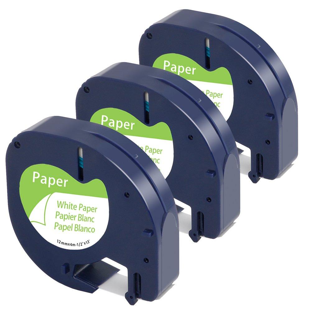 Airmall 3x Ruban Letratag Équivalent à Étiquette Dymo 91200 S0721510 Papier Noir Sur Blanc 12mm x 4m Compatible avec Dymo LetraTag LT-100H LT-100T LT-110T QX 50 XR XM 2000 Plus