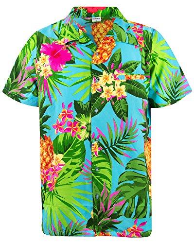 waiian Shirt, Shortsleeve, Pineapple, Turquoise, L ()