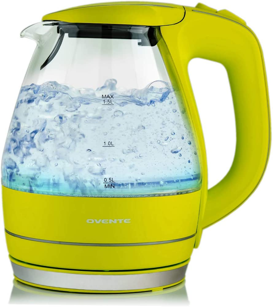 Ovente Electric Hot Water Glass Kettle 1.5 Liter with Heat Tempered Borosilicate Glass, 1100 Watts BPA-Free Fast Heating Element with Auto Shutoff and Boil Dry Protection, Green (KG83G)