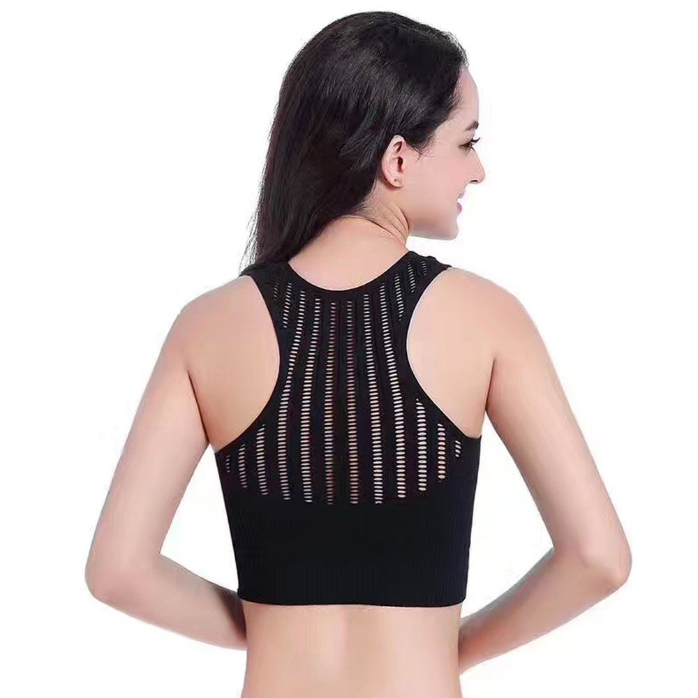 CapsA Racerback Sports Bras for Women Stretch Padded Tank Tops Crossfront Seamless High Impact Support for Yoga Gym Workout Fitness